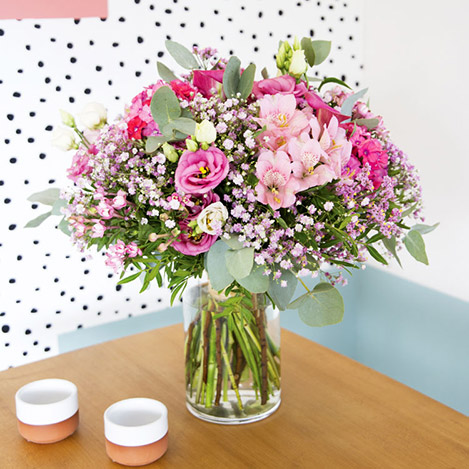 Collection Automne> -PINK POLKA XL ET SON VASE -
