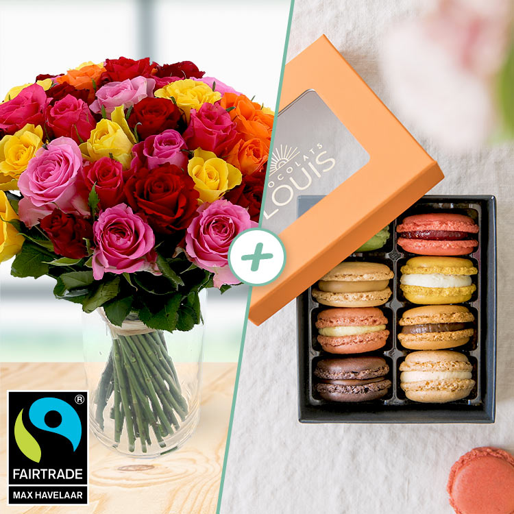 40 roses et ses macarons